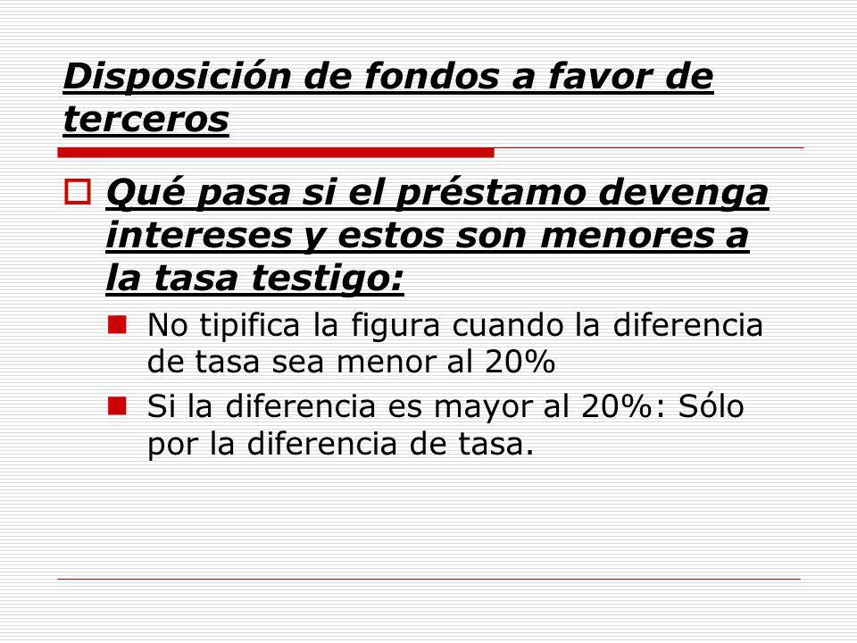 Disposición de fondos a favor de terceros Qué pasa si el préstamo devenga intereses y estos son menores a la tasa testigo: No tipifica la figura cuando la diferencia de tasa sea menor al 20% Si la diferencia es mayor al 20%: Sólo por la diferencia de tasa.