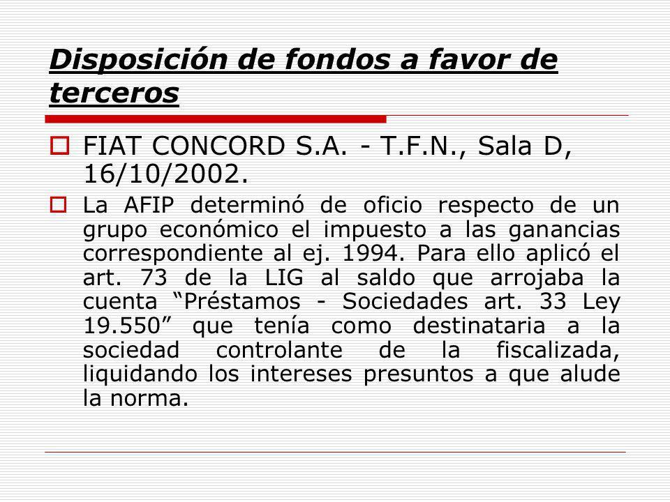 Disposición de fondos a favor de terceros FIAT CONCORD S.A.