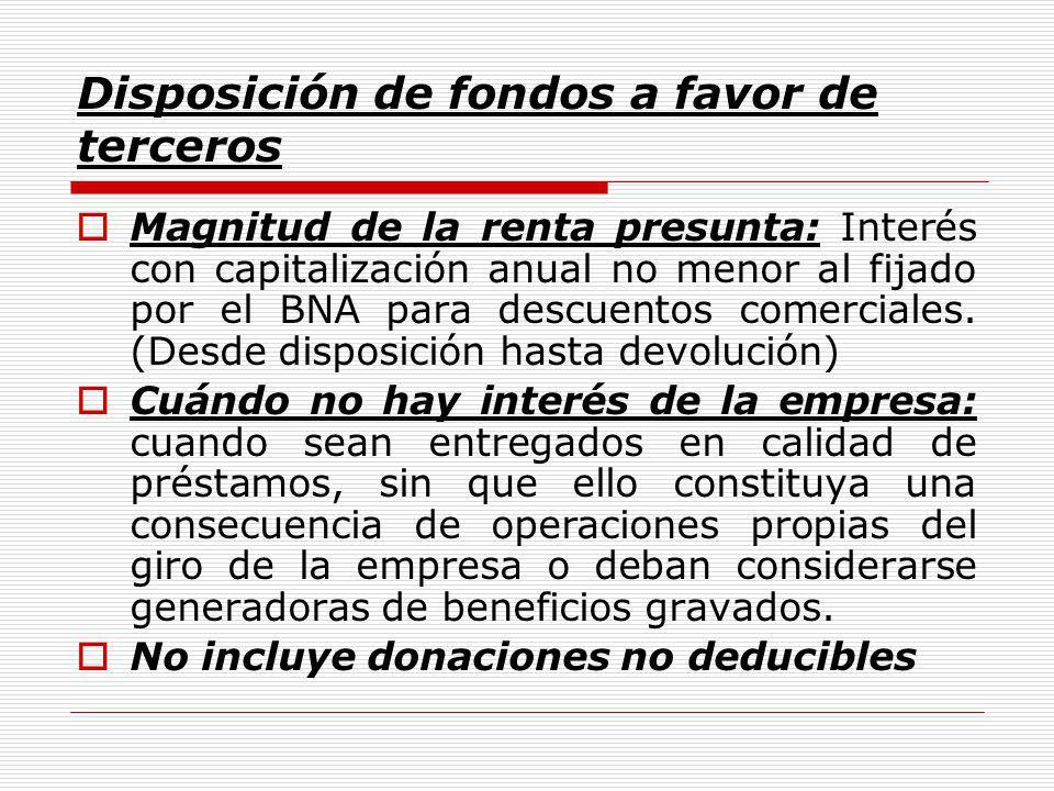 Disposición de fondos a favor de terceros Magnitud de la renta presunta: Interés con capitalización anual no menor al fijado por el BNA para descuentos comerciales.