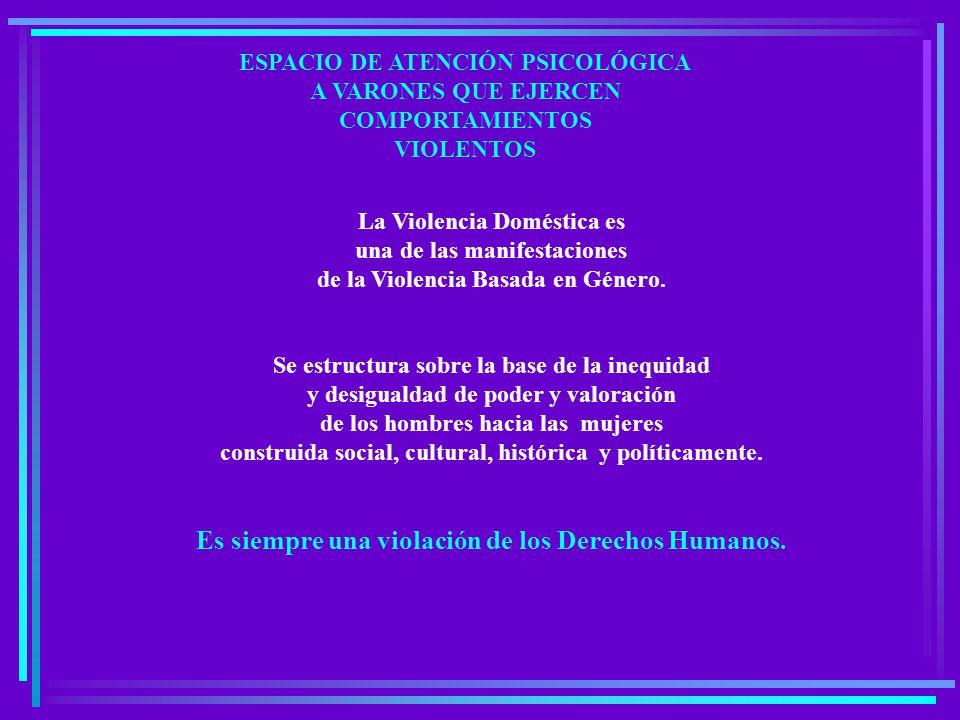 La Violencia Doméstica es una de las manifestaciones de la Violencia Basada en Género.