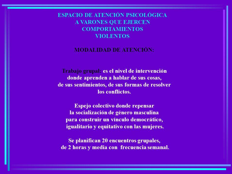 MODALIDAD DE ATENCIÓN: Trabajo grupal: es el nivel de intervención donde aprenden a hablar de sus cosas, de sus sentimientos, de sus formas de resolver los conflictos.