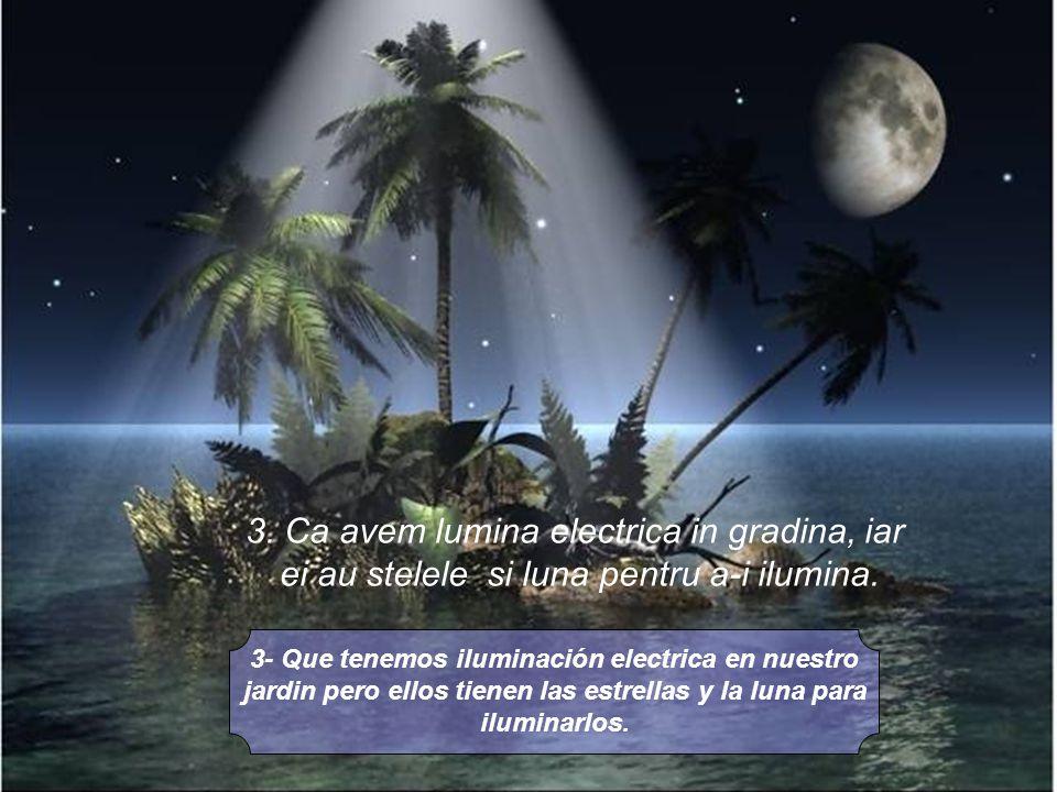 3- Que tenemos iluminación electrica en nuestro jardin pero ellos tienen las estrellas y la luna para iluminarlos.