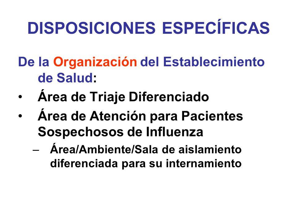DISPOSICIONES ESPECÍFICAS De la Organización del Establecimiento de Salud: Área de Triaje Diferenciado Área de Atención para Pacientes Sospechosos de