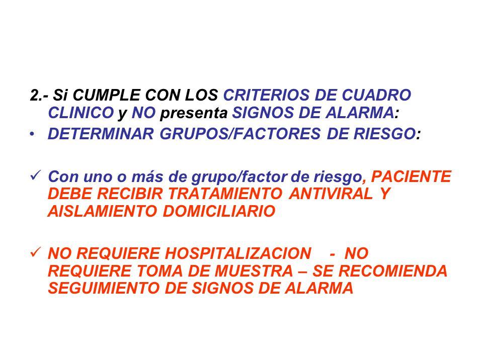 2.- Si CUMPLE CON LOS CRITERIOS DE CUADRO CLINICO y NO presenta SIGNOS DE ALARMA: DETERMINAR GRUPOS/FACTORES DE RIESGO: Con uno o más de grupo/factor