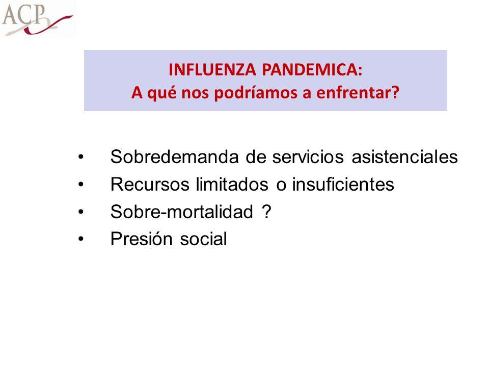Sobredemanda de servicios asistenciales Recursos limitados o insuficientes Sobre-mortalidad ? Presión social INFLUENZA PANDEMICA: A qué nos podríamos