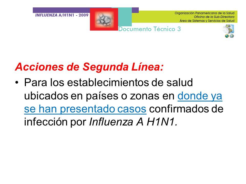 Acciones de Segunda Línea: Para los establecimientos de salud ubicados en países o zonas en donde ya se han presentado casos confirmados de infección