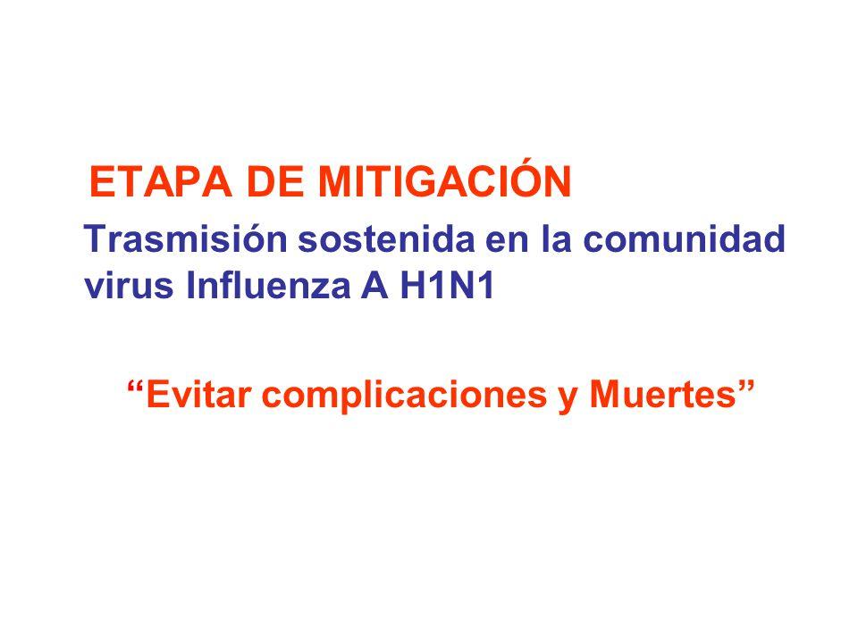 ETAPA DE MITIGACIÓN Trasmisión sostenida en la comunidad virus Influenza A H1N1 Evitar complicaciones y Muertes