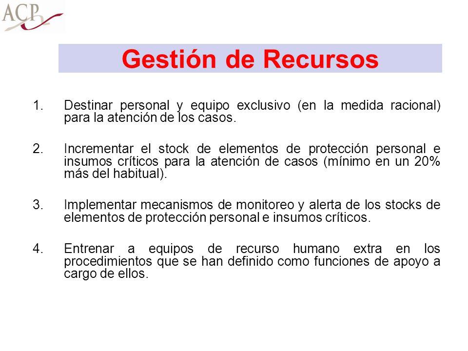 Gestión de Recursos 1.Destinar personal y equipo exclusivo (en la medida racional) para la atención de los casos. 2.Incrementar el stock de elementos