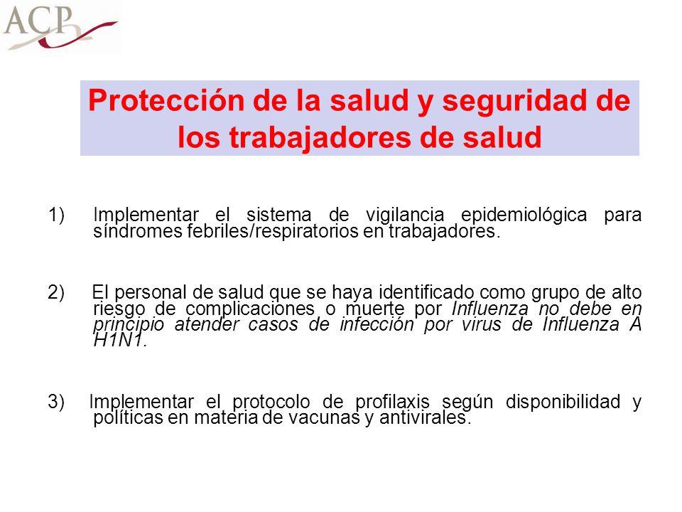Protección de la salud y seguridad de los trabajadores de salud 1)Implementar el sistema de vigilancia epidemiológica para síndromes febriles/respirat