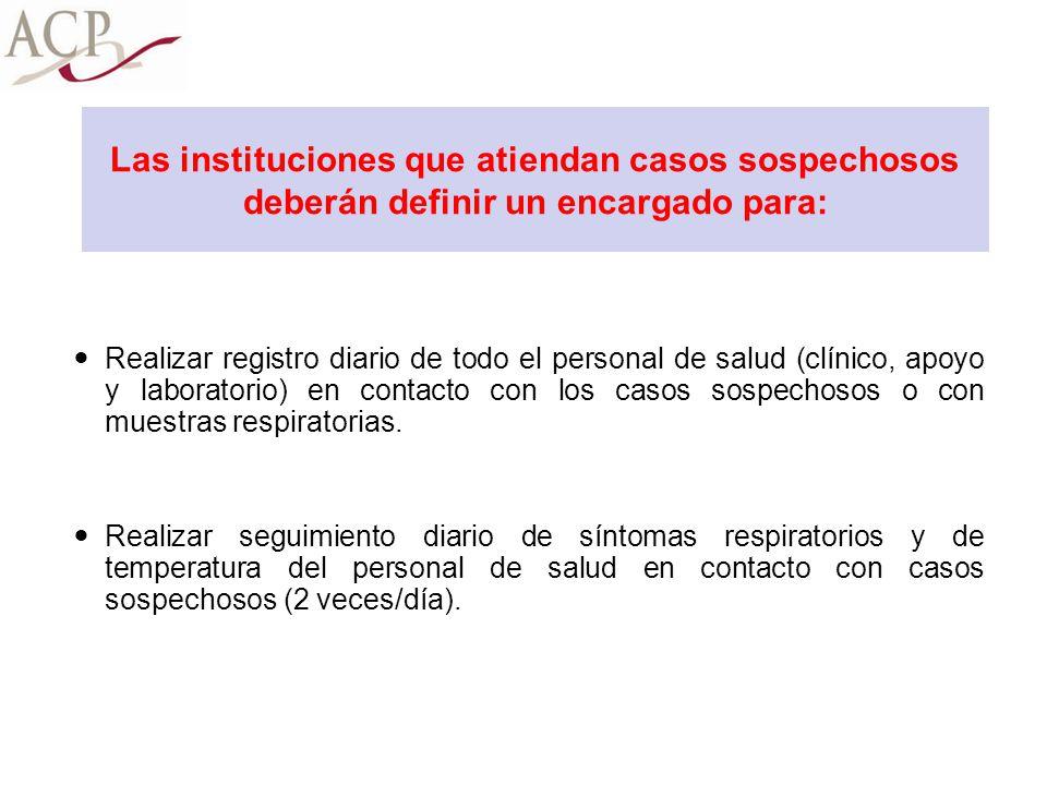 Las instituciones que atiendan casos sospechosos deberán definir un encargado para: Realizar registro diario de todo el personal de salud (clínico, ap