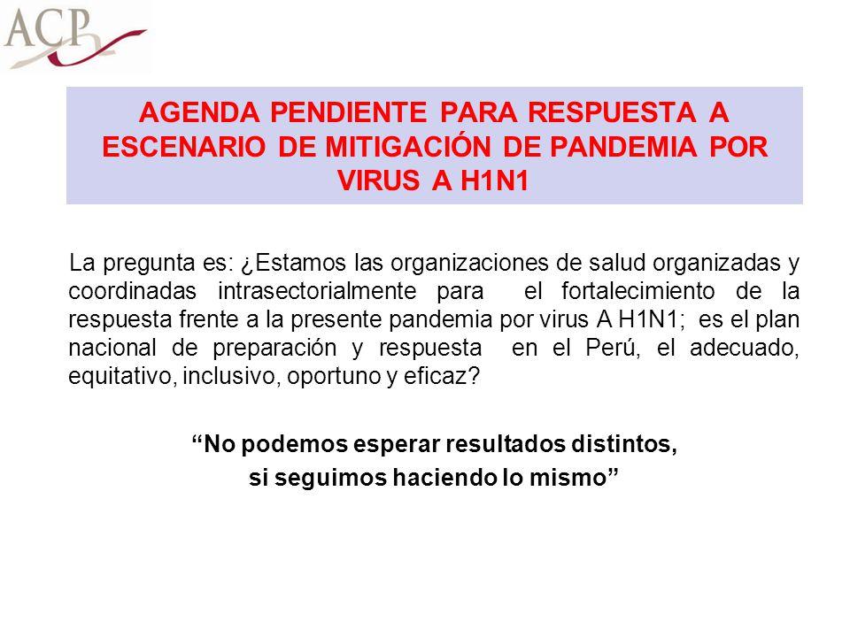 AGENDA PENDIENTE PARA RESPUESTA A ESCENARIO DE MITIGACIÓN DE PANDEMIA POR VIRUS A H1N1 La pregunta es: ¿Estamos las organizaciones de salud organizada