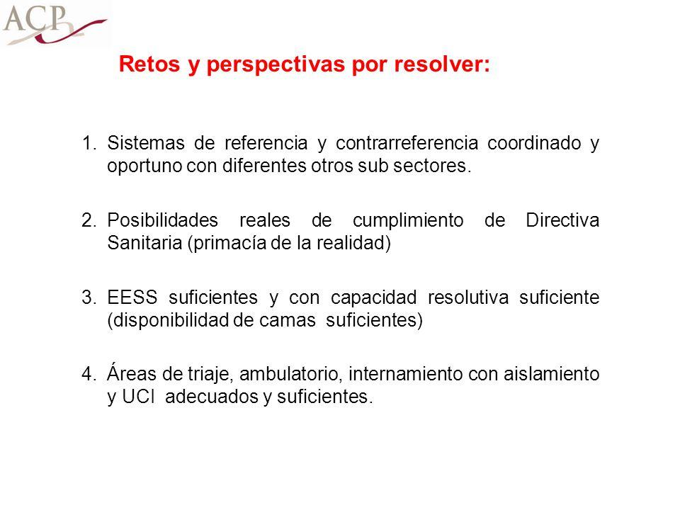 1.Sistemas de referencia y contrarreferencia coordinado y oportuno con diferentes otros sub sectores. 2.Posibilidades reales de cumplimiento de Direct