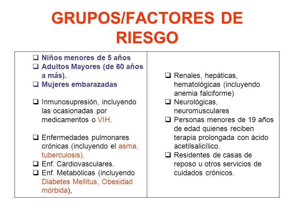 GRUPOS/FACTORES DE RIESGO Niños menores de 5 años Adultos Mayores (de 60 años a más). Mujeres embarazadas Inmunosupresión, incluyendo las ocasionadas