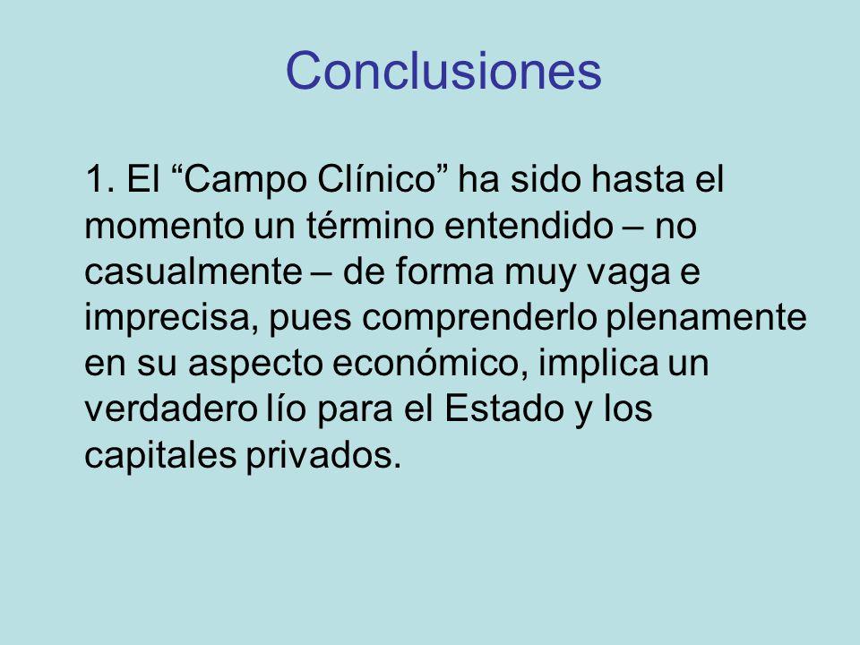 Conclusiones 1. El Campo Clínico ha sido hasta el momento un término entendido – no casualmente – de forma muy vaga e imprecisa, pues comprenderlo ple