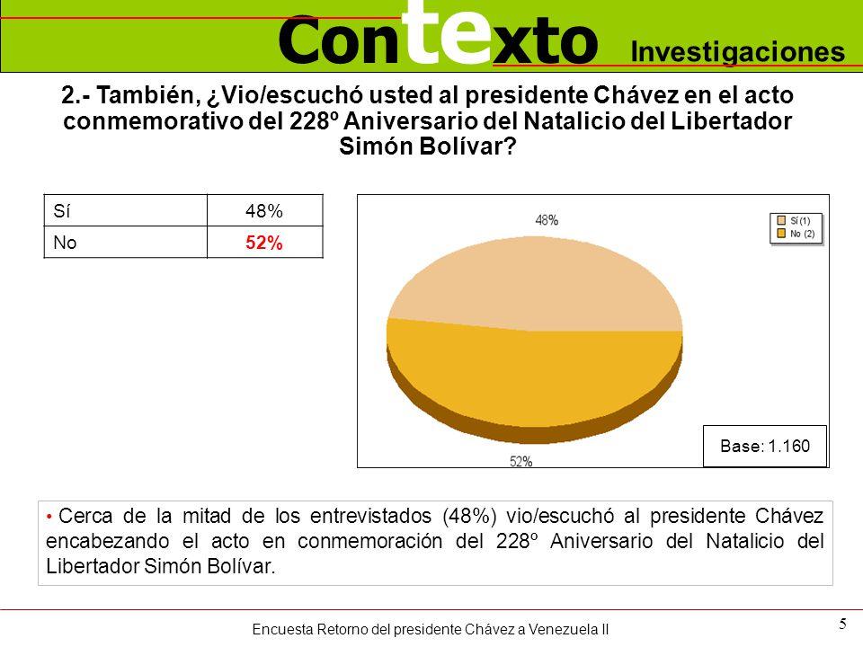 Con te xto Investigaciones 2.- También, ¿Vio/escuchó usted al presidente Chávez en el acto conmemorativo del 228º Aniversario del Natalicio del Libertador Simón Bolívar.