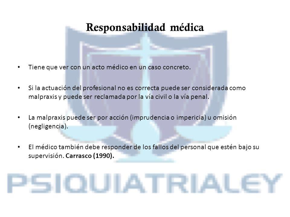 Responsabilidad médica Tiene que ver con un acto médico en un caso concreto. Si la actuación del profesional no es correcta puede ser considerada como
