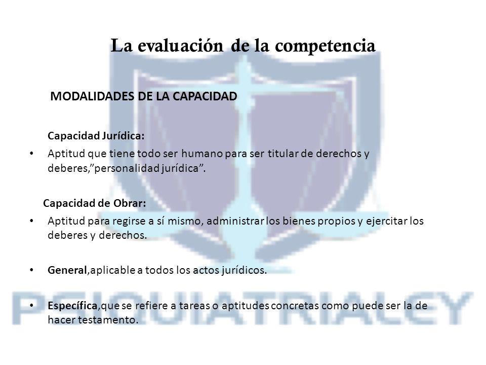 La evaluación de la competencia MODALIDADES DE LA CAPACIDAD Capacidad Jurídica: Aptitud que tiene todo ser humano para ser titular de derechos y deber