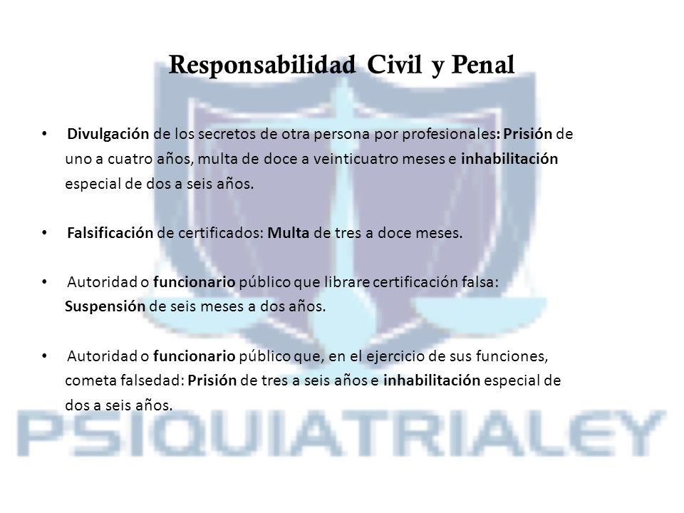 Responsabilidad Civil y Penal Divulgación de los secretos de otra persona por profesionales: Prisión de uno a cuatro años, multa de doce a veinticuatr