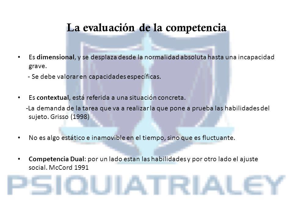 La evaluación de la competencia Es dimensional, y se desplaza desde la normalidad absoluta hasta una incapacidad grave. - Se debe valorar en capacidad