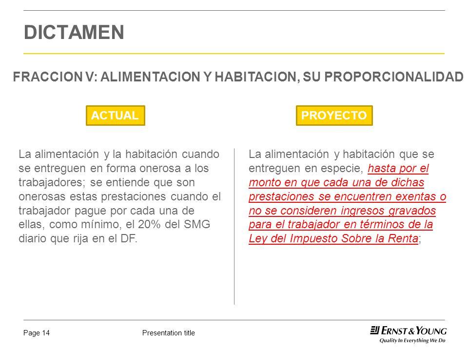 Presentation titlePage 14 DICTAMEN FRACCION V: ALIMENTACION Y HABITACION, SU PROPORCIONALIDAD ACTUALPROYECTO La alimentación y habitación que se entre