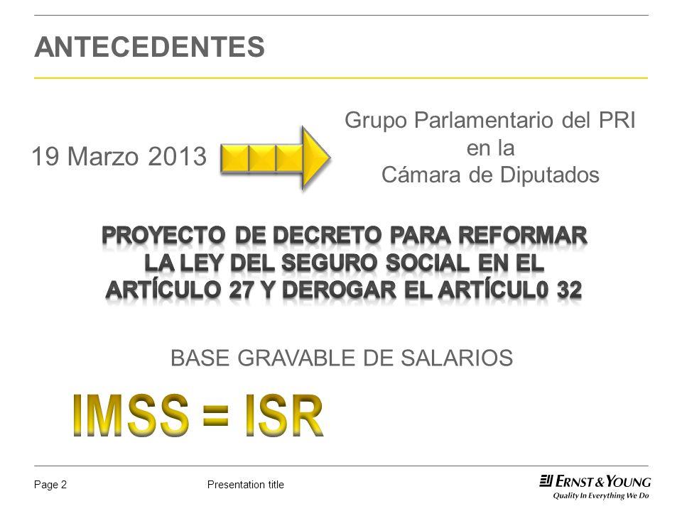 Presentation titlePage 23 CONSECUENCIAS DE LA REFORMA Efectos no medibles en PTU.