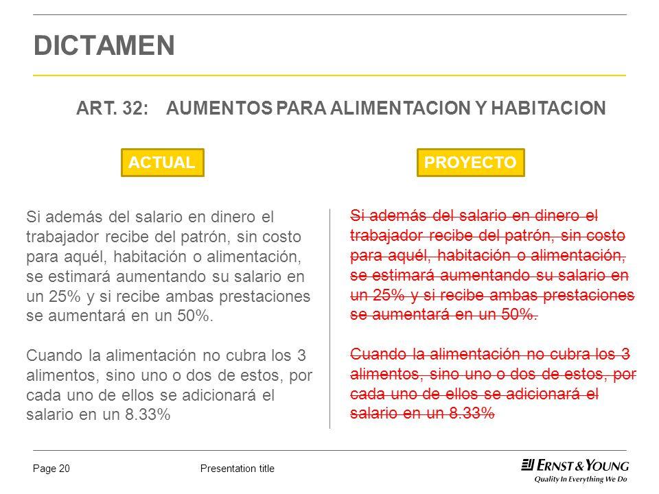 Presentation titlePage 20 DICTAMEN ART. 32: AUMENTOS PARA ALIMENTACION Y HABITACION ACTUALPROYECTO Si además del salario en dinero el trabajador recib