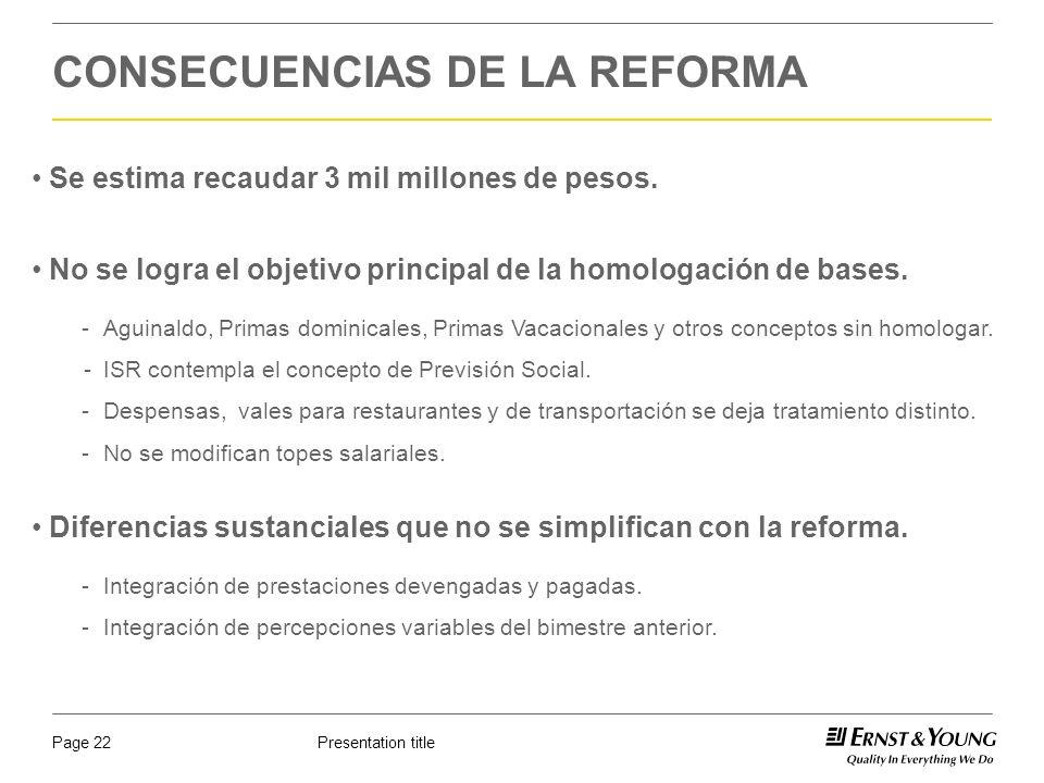 Presentation titlePage 22 CONSECUENCIAS DE LA REFORMA No se logra el objetivo principal de la homologación de bases. -Aguinaldo, Primas dominicales, P