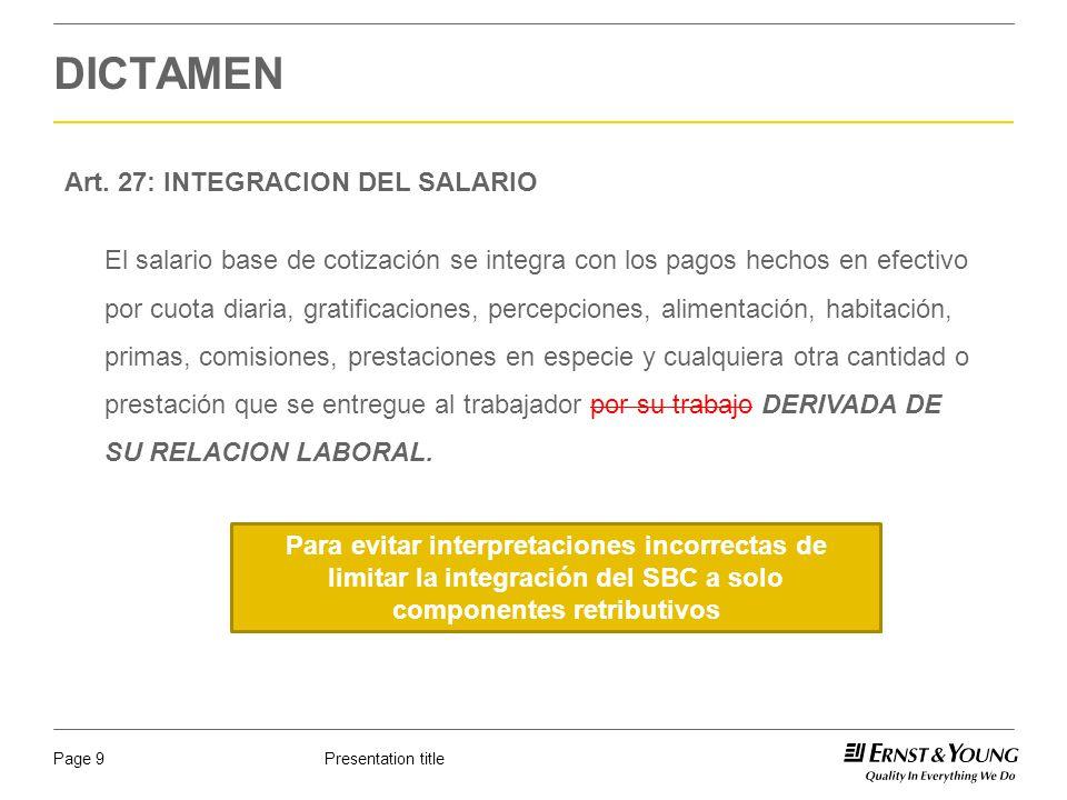 Presentation titlePage 10 DICTAMEN FRACCION I: INSTRUMENTOS DE TRABAJO.