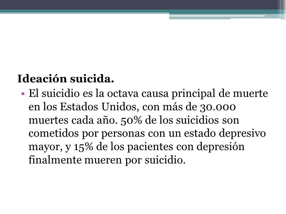 Ideación suicida. El suicidio es la octava causa principal de muerte en los Estados Unidos, con más de 30.000 muertes cada año. 50% de los suicidios s