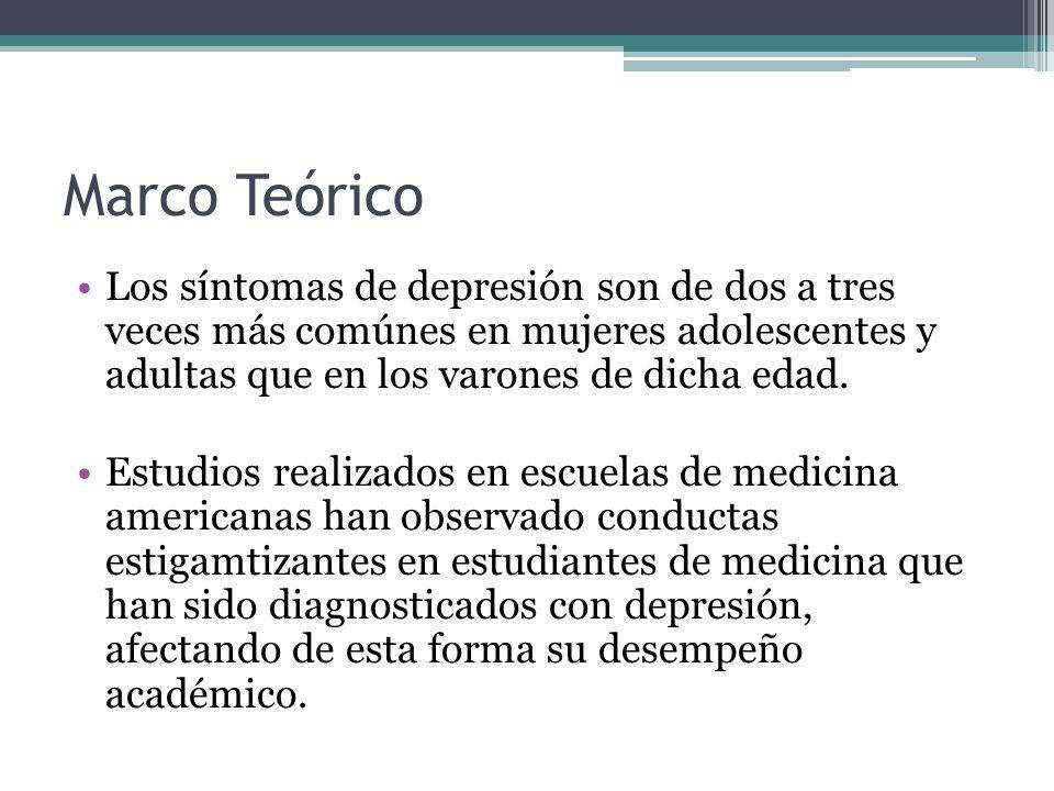 Marco Teórico Los síntomas de depresión son de dos a tres veces más comúnes en mujeres adolescentes y adultas que en los varones de dicha edad. Estudi