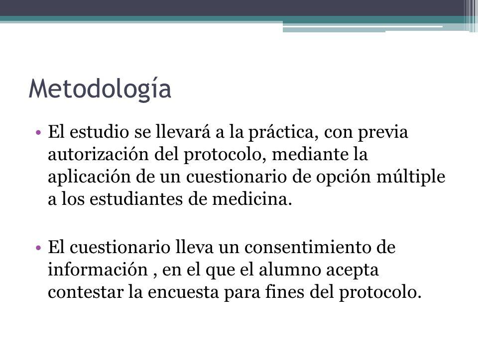 Metodología El estudio se llevará a la práctica, con previa autorización del protocolo, mediante la aplicación de un cuestionario de opción múltiple a