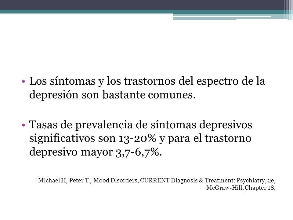 Los síntomas y los trastornos del espectro de la depresión son bastante comunes. Tasas de prevalencia de síntomas depresivos significativos son 13-20%