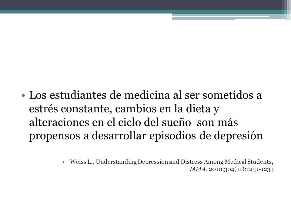 Los estudiantes de medicina al ser sometidos a estrés constante, cambios en la dieta y alteraciones en el ciclo del sueño son más propensos a desarrol