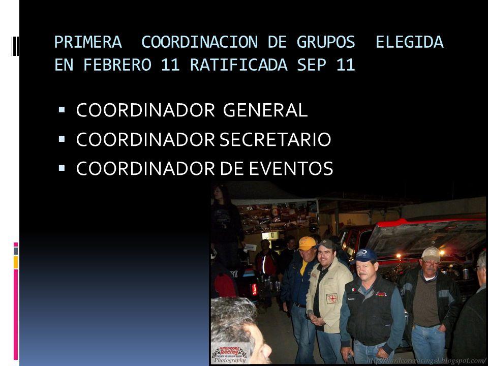PRIMERA COORDINACION DE GRUPOS ELEGIDA EN FEBRERO 11 RATIFICADA SEP 11 COORDINADOR GENERAL COORDINADOR SECRETARIO COORDINADOR DE EVENTOS