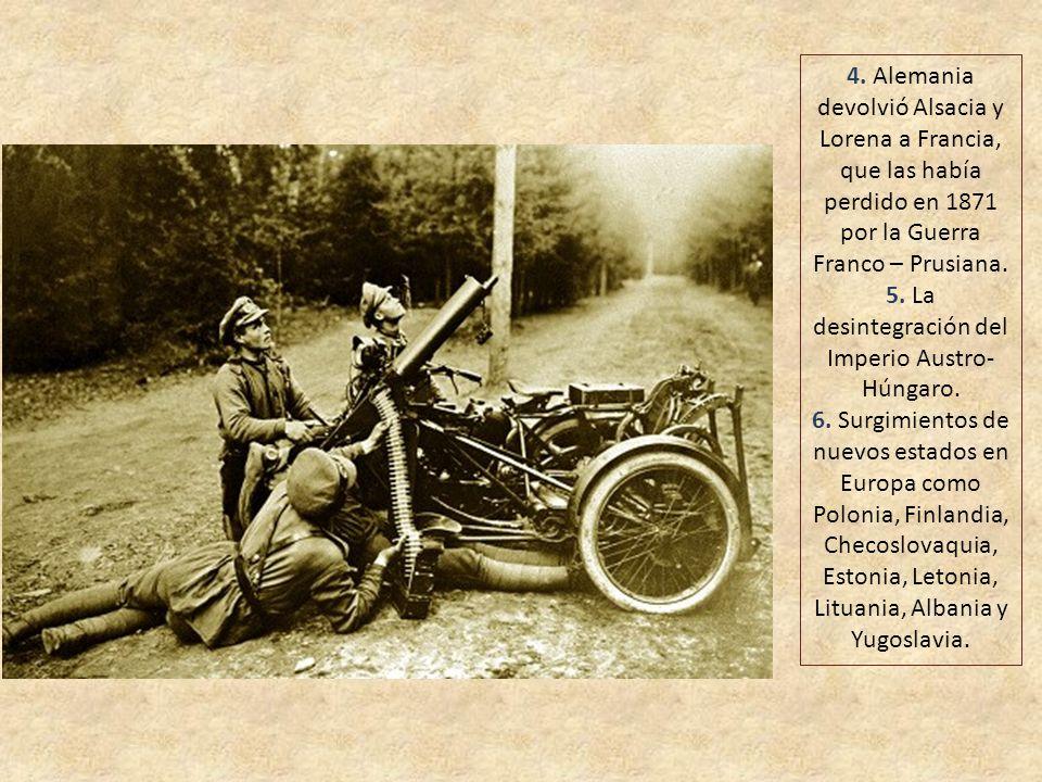 Las principales consecuencias de la Primera Guerra Mundial fueron: 1. La ruina económica de las potencias derrotadas, sobre todo Alemania, que quedó o