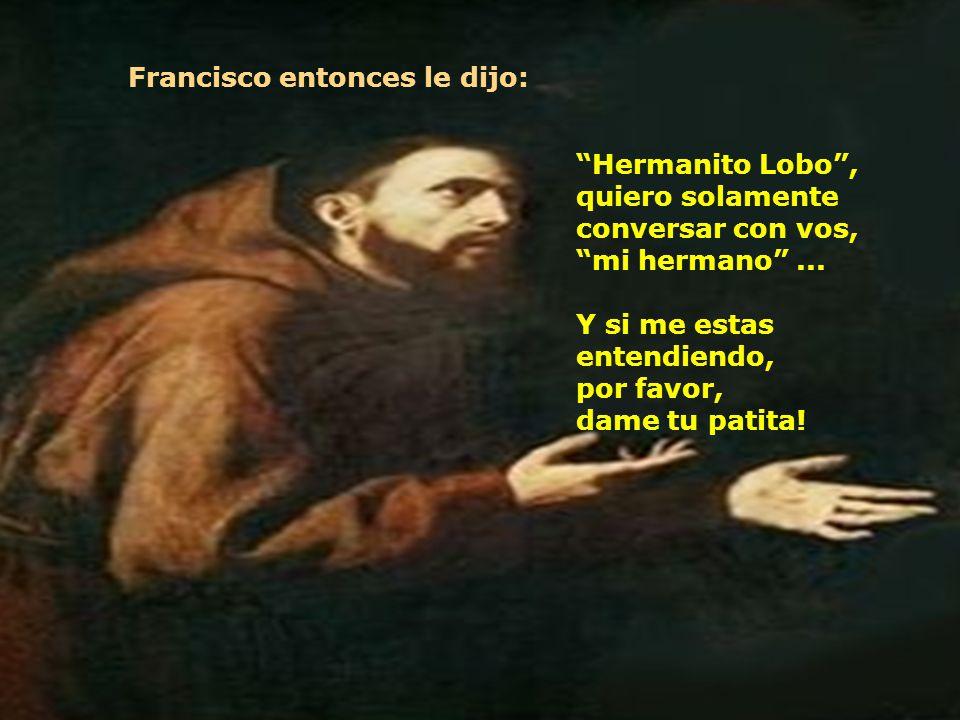 Las buenas vibraciones de Francisco de Assis anularon la violencia que habia en el hermanito lobo. Mirandolo a Francisco, vio que ese hombre lo observ