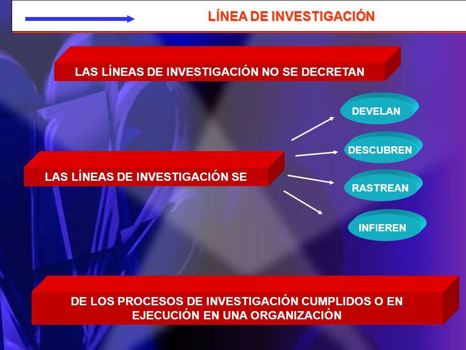 LÍNEA DE INVESTIGACIÓN LAS LÍNEAS DE INVESTIGACIÓN NO SE DECRETAN LAS LÍNEAS DE INVESTIGACIÓN SE DEVELAN DESCUBREN RASTREAN INFIEREN DE LOS PROCESOS D