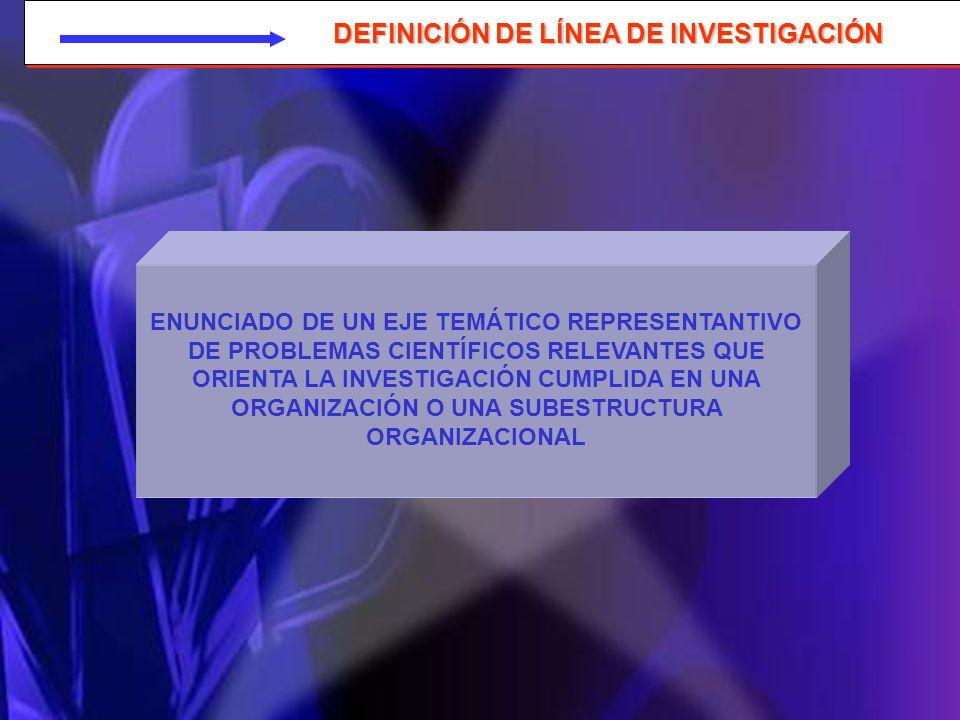 LÍNEA DE INVESTIGACIÓN LAS LÍNEAS DE INVESTIGACIÓN NO SE DECRETAN LAS LÍNEAS DE INVESTIGACIÓN SE DEVELAN DESCUBREN RASTREAN INFIEREN DE LOS PROCESOS DE INVESTIGACIÓN CUMPLIDOS O EN EJECUCIÓN EN UNA ORGANIZACIÓN