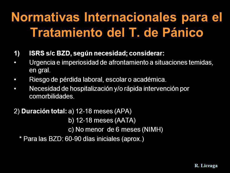 Normativas Internacionales para el Tratamiento del T. de Pánico 1)ISRS s/c BZD, según necesidad; considerar: Urgencia e imperiosidad de afrontamiento