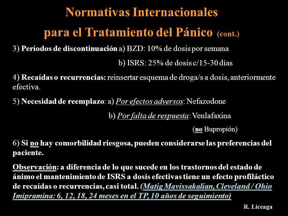 Normativas Internacionales para el Tratamiento del Pánico (cont.) 3) Períodos de discontinuación a) BZD: 10% de dosis por semana b) ISRS: 25% de dosis