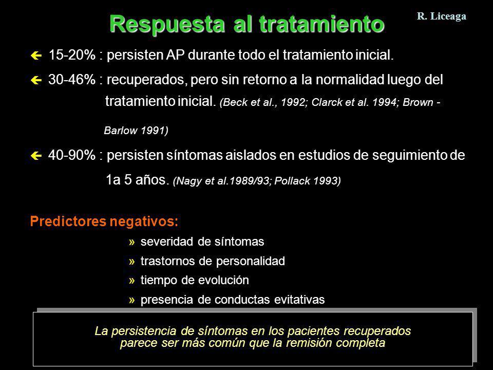 ç 15-20% : persisten AP durante todo el tratamiento inicial. ç 30-46% : recuperados, pero sin retorno a la normalidad luego del tratamiento inicial. (
