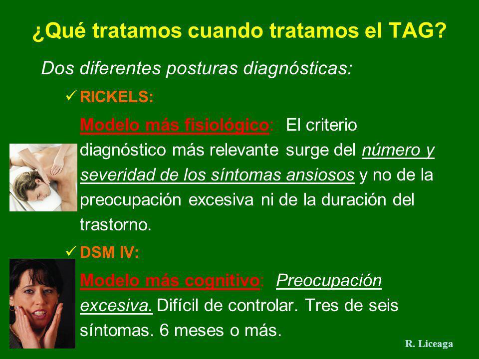 ¿Qué tratamos cuando tratamos el TAG? Dos diferentes posturas diagnósticas: RICKELS: Modelo más fisiológico: El criterio diagnóstico más relevante sur