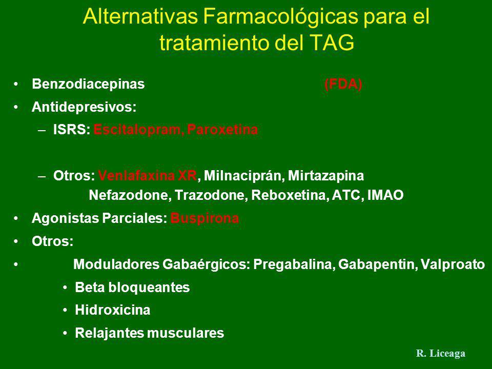 Alternativas Farmacológicas para el tratamiento del TAG Benzodiacepinas (FDA) Antidepresivos: –ISRS: Escitalopram, Paroxetina –Otros: Venlafaxina XR,