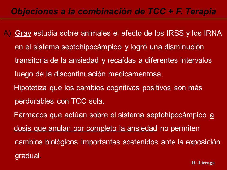 Objeciones a la combinación de TCC + F. Terapia A)Gray estudia sobre animales el efecto de los IRSS y los IRNA en el sistema septohipocámpico y logró
