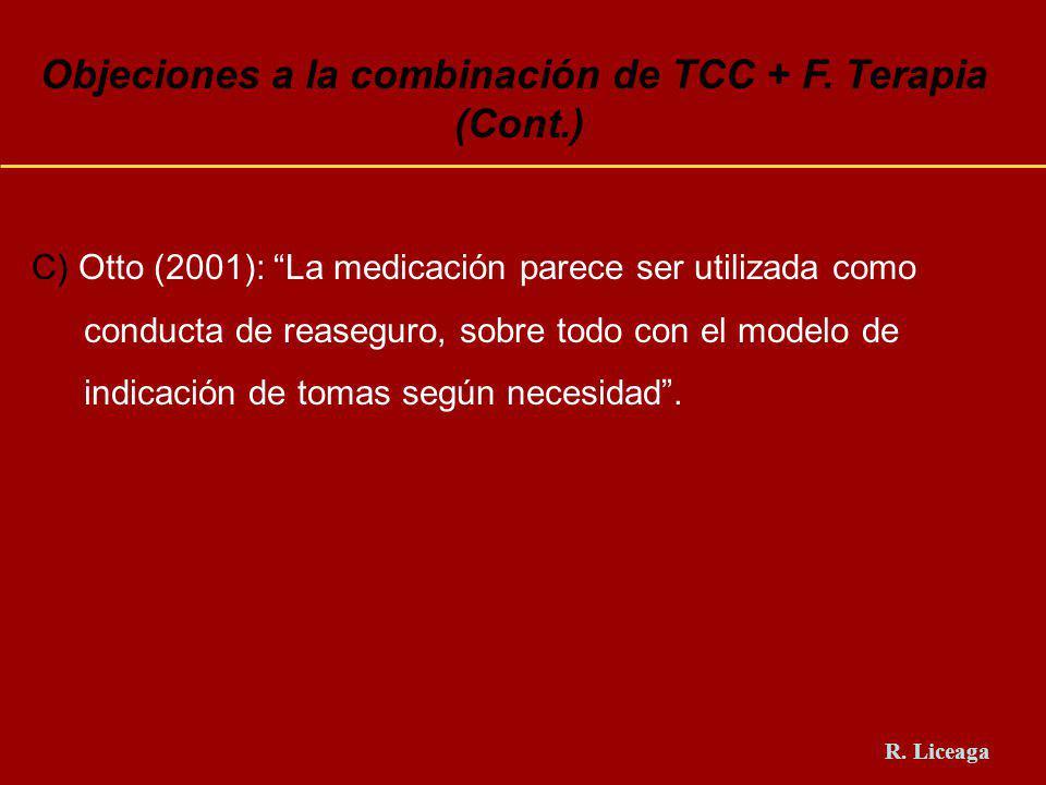 Objeciones a la combinación de TCC + F. Terapia (Cont.) C) Otto (2001): La medicación parece ser utilizada como conducta de reaseguro, sobre todo con