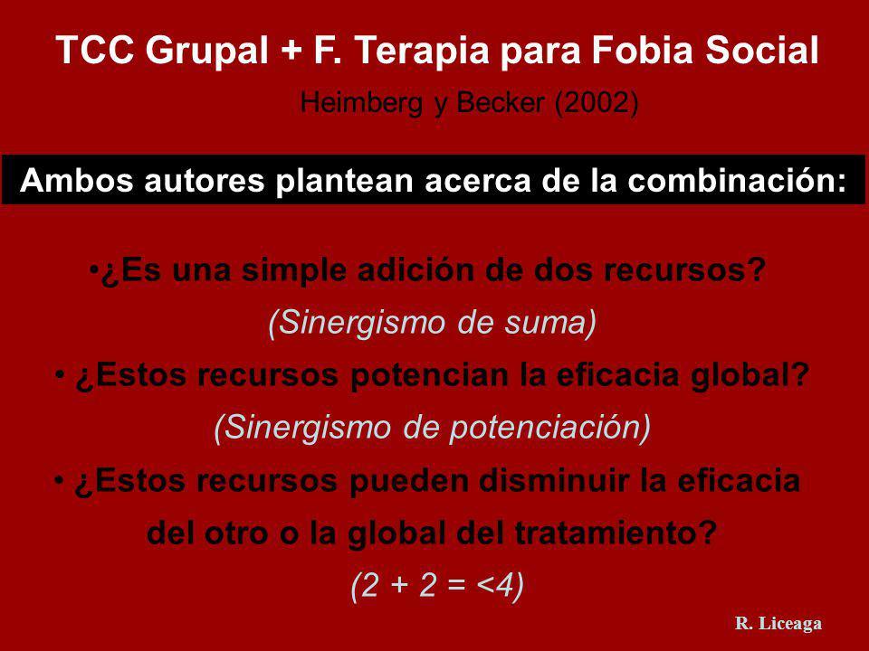 TCC Grupal + F. Terapia para Fobia Social Heimberg y Becker (2002) ¿Es una simple adición de dos recursos? (Sinergismo de suma) ¿Estos recursos potenc