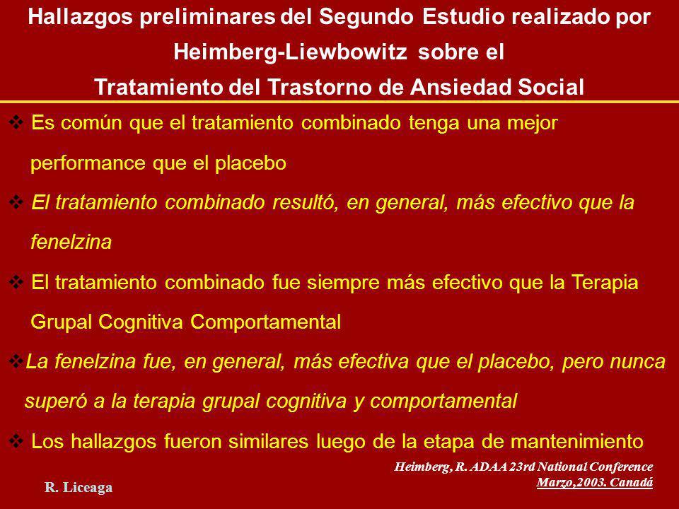 Hallazgos preliminares del Segundo Estudio realizado por Heimberg-Liewbowitz sobre el Tratamiento del Trastorno de Ansiedad Social Es común que el tra