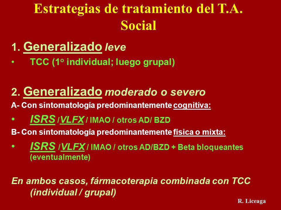 1. Generalizado leve TCC (1 o individual; luego grupal) 2. Generalizado moderado o severo A- Con sintomatología predominantemente cognitiva: ISRS / VL