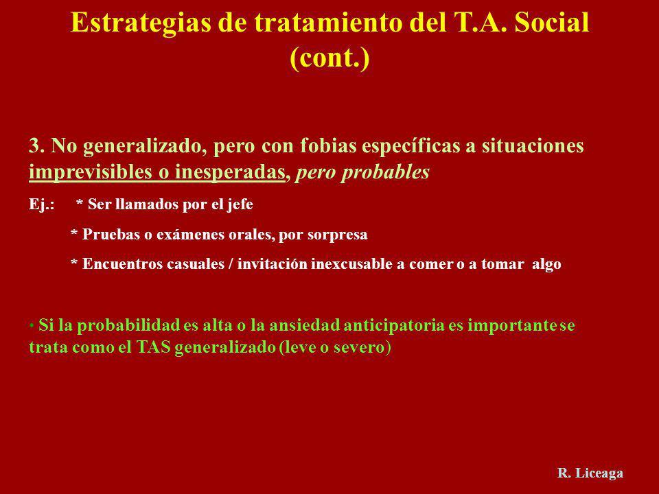Estrategias de tratamiento del T.A. Social (cont.) 3. No generalizado, pero con fobias específicas a situaciones imprevisibles o inesperadas, pero pro