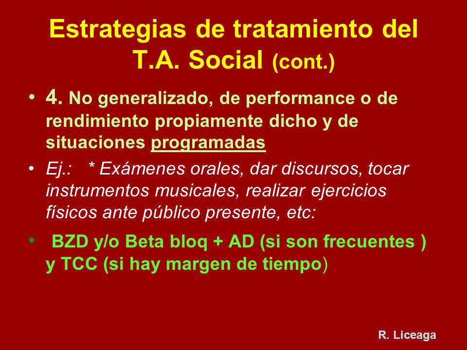 Estrategias de tratamiento del T.A. Social (cont.) 4. No generalizado, de performance o de rendimiento propiamente dicho y de situaciones programadas